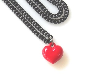 Red Heart Charm necklace, Valentine's Day Gift for Her, Romantic Jewelry love necklace for her , free shipping