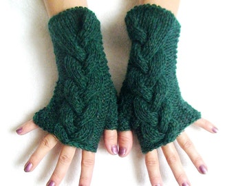Fingerless Gloves Cabled Green Wrist Warmers Warm and Soft