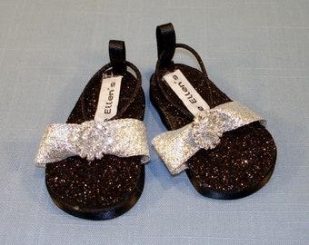 18 Inch Doll Shoes - Black and Silver Rhinestone Glitter Sandals handmade by Jane Ellen