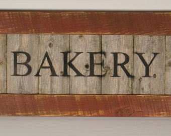 Rustic Reclaimed Wooden Bakery Sign for Kitchen or Home