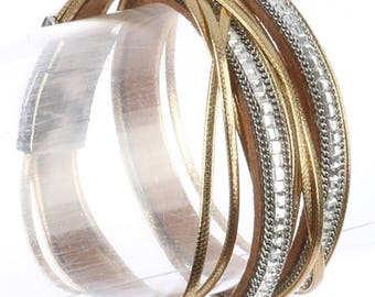 Magnetic Multi Strand Wraparound Bracelet Gold/Clear