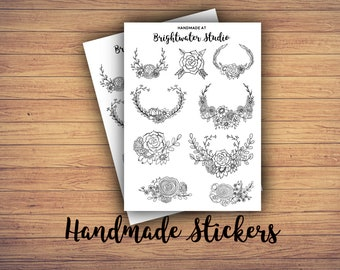FREE SHIPPING! 2-pack of boho chic laurels and flowers bullet journal and planner STICKERS