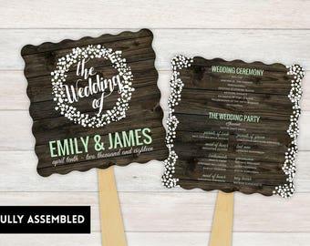 Wedding Fan, Wedding Program, Fans, Ceremony Program Fans, Wedding Keepsake Fans, wedding Fan, Custom Wedding Fans, baby breath wreath
