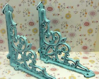 Wall Bracket Cast Iron Shelf Ornate FDL Brace Cottage Chic Beach Blue Decorative Shabby 5 5/8 x 5 5/8 Bracket 1 Pair (2 individual brackets)