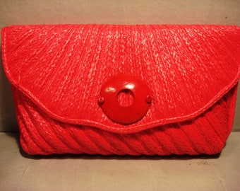 Vintage 1970 Pink Wicker Clutch Handbag