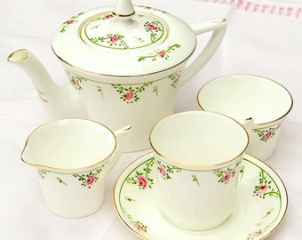 Vintage 1920s Early Deco Heathcote China Set - Tea For One - Hand Painted Rosebuds