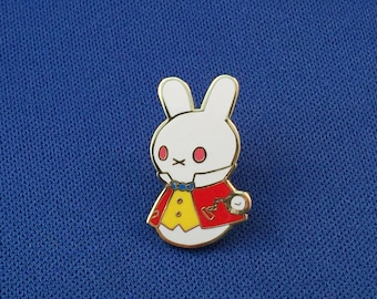 The White Rabbit Moon Bun Enamel Pin - Amigurumi Bunny Rabbit Badge - Alice's Adventures in Wonderland