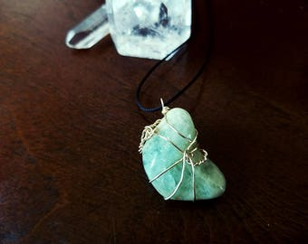Aquamarine Amulet | Wire Wrapped Necklace | Pendant, Crystals, Gems, Jewelry, Spiritual, Rocks & Minerals, Natural, Stone