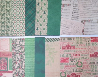 12 Sheets Cute 12 X 12 Scrapbook Paper Old Fashioned CHRISTMAS HOLIDAY Tree Crafting J