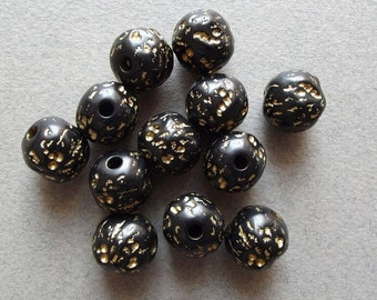 Black gold lucite vintage beads