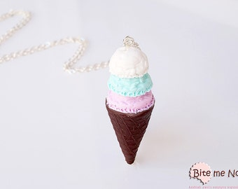 Mini Food Ice Cream Cone Strawberry Necklace, Miniature Food Jewelry, Polymer Clay Sweets, Kawaii Jewelry, Ice Cream Jewelry, Cute Jewelry