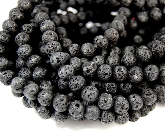 """Wholesale Lot of 5 /  15.5"""" strands Lava Rock Beads 8mm Black Beads Stone Beads Natural Beads Volcanic Rock Beads Jewel"""