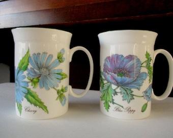 Pair. Kirkham Fine Bone China Mugs. Poppy & Chicory Botanical Flowers. Made in England.