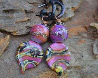 Mauve Lampwork Glass Headpin and Bead earrings