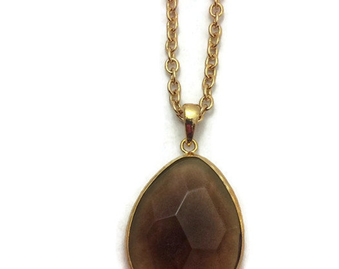 Statement Necklace, Brown Stone Necklace, Long Brown Stone Necklace, Gold Chain 30-32 inches, Large 1 Inch Brown Stone Statement Necklace