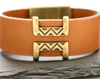 Leather Bracelet Southwestern Bracelet Leather Bangle Mens Bracelet Statement Bracelet Brass Cuff Fathers Day Gift For Dad Man Him Under 50