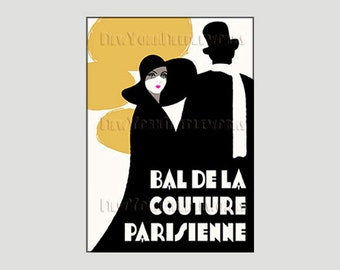 Parisienne Couture Pattern, French Poster, Needlepoint, Paris Pattern, Art Deco, Cross Stitch Pattern from NewYorkNeedleworks on Etsy