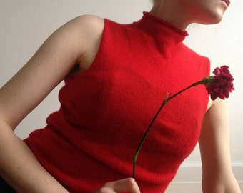 Cherry Red Cashmere Mock Neck