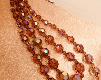 Vintage Amber Faceted Bead Necklace