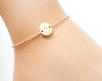 Initial Bracelet, Rose Gold Bracelet, Gold, Delicate Personalized (or blank) Disk Bracelet , Friendship bracelet, Bridesmaid Gift