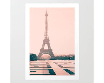 Extra large wall art, mothers day gift, Paris photography, wall art canvas, Paris wall art, wall art canvas, Eiffel tower, pink wall art