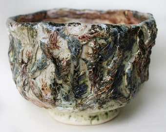 Large Ceramic Planter hand painted, Pottery Vessel, ceramic utensil holder, plant pot