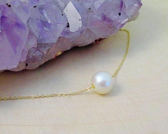 Floating pearl necklace, Bridesmaid gift, pearl solitaire, freshwater pearl, layering necklace, pearl jewelry, bridal, otis b, briguysgirls,