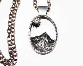 Mount Jefferson Pendant - Signed 925S Oval Oregon Mountain Scene - Sterling Silver Tourist - Rhinestone Moon - Sterling Chain Necklace
