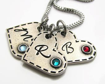 Personalized Birthstone Necklace - Hand Stamped Necklace - Personalized Heart Necklace - Birthstone Jewelry  - Pewter Mom Necklace Grandma
