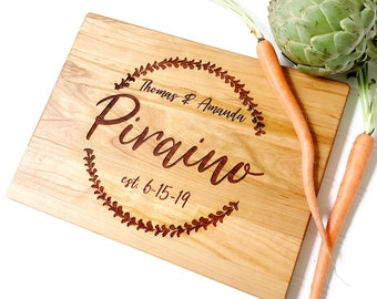 Cutting Board Personalized with names and date. Engraved Wooden Board for Custom Wedding Gift, Hostess Present,  by Milk & Honey ®
