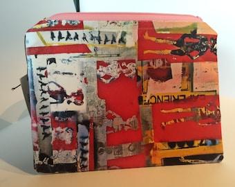 Travel Toiletry Bag Girl Power Zippered Red Cosmetic Bag Artisan Handmade Bag Mens Toiletry Storage Bag Women Cosmetic Organize Storage