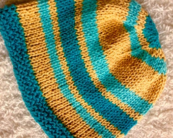 Handknit Cotton Turquoise and Yellow Hat/Cap. Great Chemo Cap. OOAK