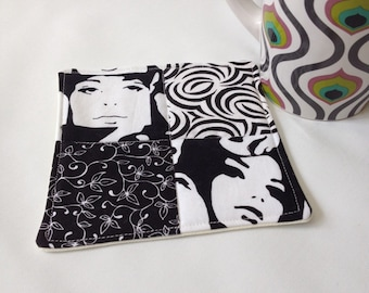 Mug Rug, drink coaster, fabric coaster, black and white faces, office or cubicle desk accessory, cup mat