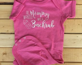 Funny Baby Bodysuit, Backrub, Snapsuit, Baby One-piece, Baby Girl Clothes, Baby boy Clothes, Newborn Baby Clothes, White or Pink