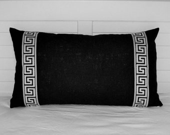 Black Velvet with Black and White Greek Key Tape Lumbar Designer Pillow Cover - Other Trim Colors Available