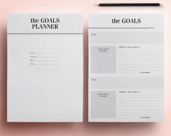GOALS Planner Pack Printable - 11 A4 & A5 Organizer Pages, New Years Resolution Planner, Instant Digital Download, Dream Journal