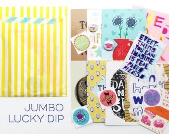 Jumbo Lucky Dip Bag- illustration cards, postcards, stickers, fun! goodie surprise grab bag