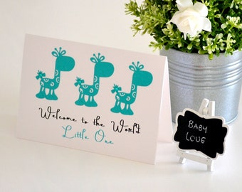Gender Neutral Baby Card, Welcome to the World, Personalized Baby Gift, Welcome Baby, Baby Keepsake Card, Aqua Giraffes, Custom Baby Card