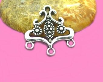 10 21x20mm antiqued silver boho chandelier