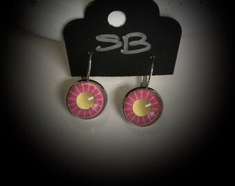 Drop earrings with pink and gold flower
