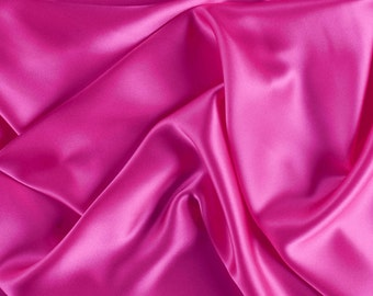 "45"" Wide 100% Silk Charmeuse Hot Pink By the Yard (1000M118)"