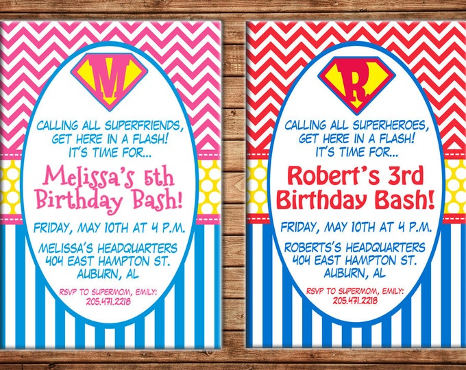Boy or Girl Invitation Superhero Super Hero Shield Birthday Party - Can personalize colors /wording - Printable File or Printed Cards
