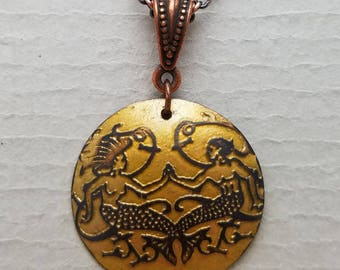 Etched Copper Mermaid and Merman Necklace