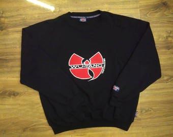 WU WEAR sweatshirt, Wu Tang jacket, vintage hip hop sweat shirt, 1996 sewn authentic Wu Tang Clan jersey 90s gangsta rap size XL