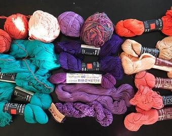100% cotton yarn, beautiful tropical colors, purple, aqua, coral, more