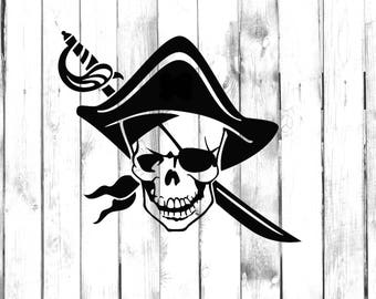Pirate Skeleton Skull with Hat and Sword - Car/Truck/Home/Laptop/Computer/Phone Decal
