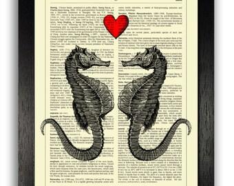 Seahorses in Love Art Print, ORIGINAL ARTWORK Print, Love Gift Anniversary Present, Gift for Boyfriend, Wedding Gift, Love Art, Gift for Her