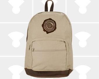 Tree Rings - Leather Bottom Laptop Backpack
