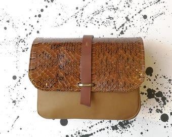 """handbag """"LOUIS"""" vintage camel leather and snake"""