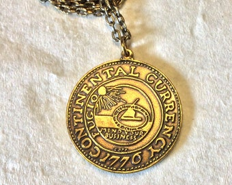 Vintage old coin necklace . Continental Congress We Are One copy.